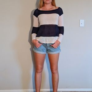 Navy Blue and White Striped Light Sweater